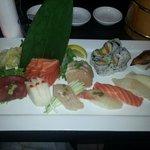Sushi and sashimi entree.
