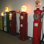 Many old gas pumps are on display