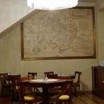 Breakfast area, including renaissance reproduction world map!