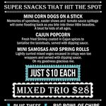 Bar snacks menu