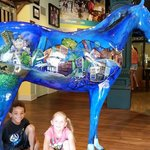 fun to take pics of our Lexington vaca with the big blue horse