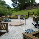 Deck with shared hot tub