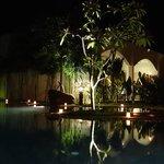 Night shot at the main pool