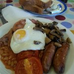 Full English breakfast with doorstop toast! Delicious.