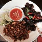Blackened Pork with side order of Nasi Goreng