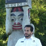 Narrator tells a Native American story and totem pole design.