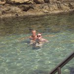 swimming in the rock pool at the hotel