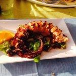Burnt tasteless octopus