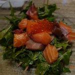 Tuna, salmon, salmon roes salad