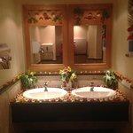 Beautiful flower display in one of the communal ladies bathrooms