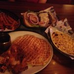Fried chicken with waffles, mac&cheese, and sweet potatoe fries