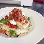 Tomato and basil bruschetta with goats cheese and air dried ham
