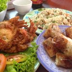 Crab rice, crab roll and fried soft shell