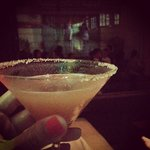 Ginger tamarind martini and the movie on the background