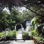 Entrance to gardens behind inn