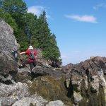 Rocky cliffs along the beach