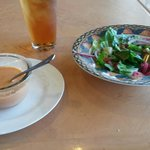 Tea, a really different tomato soup and Cleopatra's House Salad.