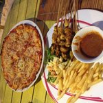 Grilled chicken satay and Hawaii Pizza