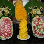 fruit carvings by the talented chefs