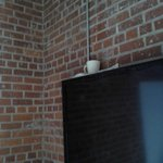 Owner's solution to leak near wall (towel and a coffee cup)