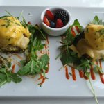 Poached eggs with Hollandaise Sauce over real Crab Cakes