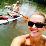 Paddleboarding downstream