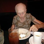 Mom devouring her dessert (she's almost 92)