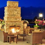 Enjoy sitting on our soft seating on the patio while enjoying the fireplace