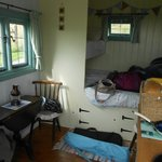 Inside the hut (with some of our belongings)