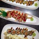 Ebi super crunch, Panda crunch, Dragon, Double shrimp. Best sushi I have ever eaten!