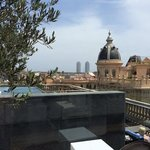 Hotel rooftop pool and bar