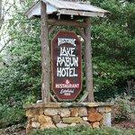 Entry sign, Lake Rabun Hotel, Lakemont, Georgia