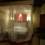 view in the room with mosquito net around the bed