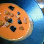 Strawberry and Tomato Gazpacho with black pudding