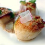 scallops with satay and lime