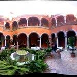 panoramic of courtyard at hotel