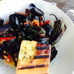 Corn and mussels with peppadew peppers yum!