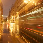 Light Trails on the street approaching to St Paul Cathedral
