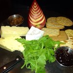 Cheeseboard great for sharing with wine in the sun