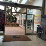 Indoor Lobby, looking out towards kids pools area
