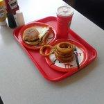 Hot dog, hamburger, fries and tea