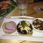 Salad plus Portobello Burger with three beans side