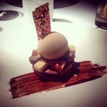 Chocolate and Peanut Tart served with Banana Sorbet and Salted Caramel - to die for!