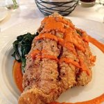 Fried Catfish with Spinach and Tomato Base Rice