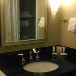 Black granite top bathroom sink