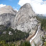 View of half dome, liberty cap, and Nevada along the john Muir trail