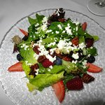 fresh local greens, berries, local goat cheese... heaven