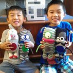 Kids with silly Stuf'd Sock Monsters and Xavier, the Rent-A-Fish