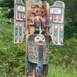 Close-up of Totem Pole near highway
