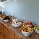 Plentiful Breakfast, Muffins, Bagels, Hard Boiled Eggs, Yogurt, Fruit, Cereal, Milk, Coffee, Jui